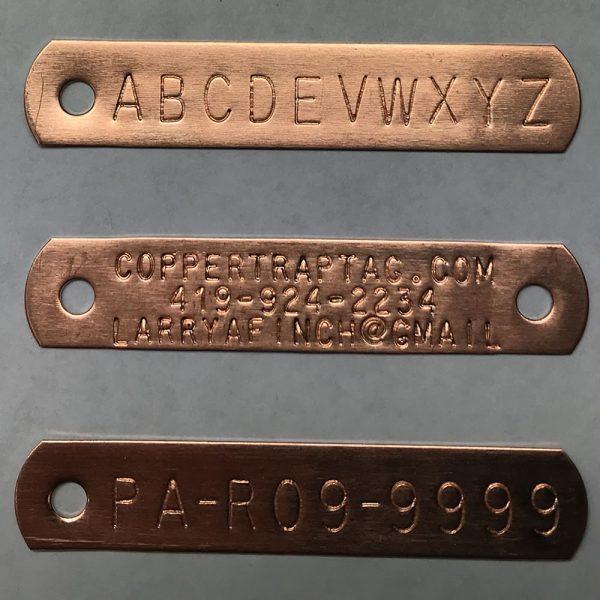 Copper Trap Tags 2- hole